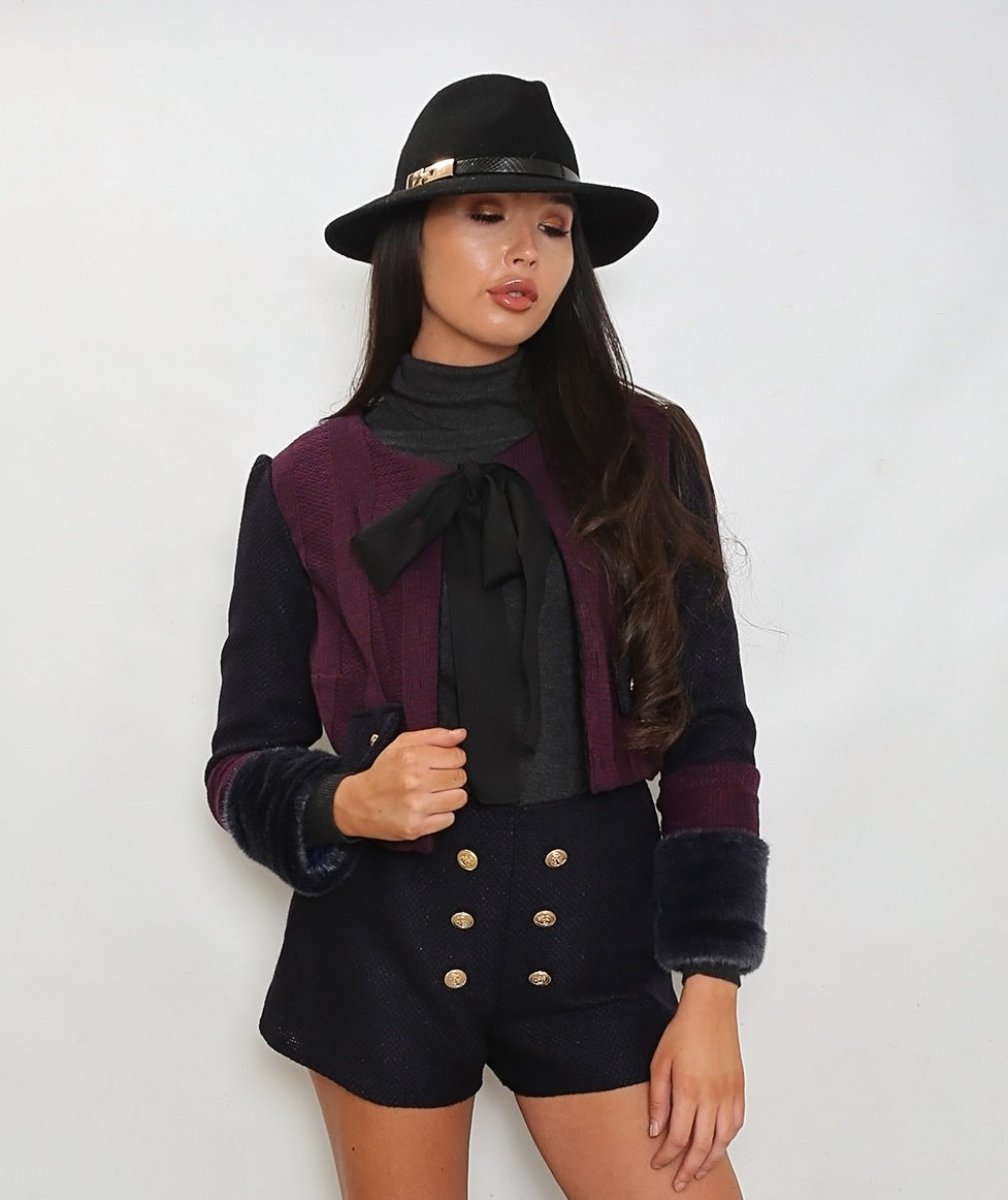 f39b812129 Chloe Maroon And Navy Knit Faux Fur Jacket